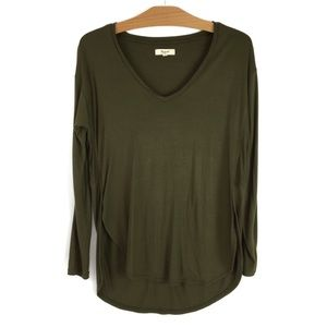 Madewell High Low V-Neck Long Sleeve Army Green XS